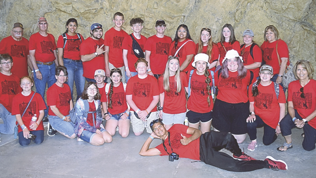 courtesy photo    Youth and youth leaders pose for a photo at the Creation Museum in Kentucky recently. Pictured are (back row, l-r) Steve Ilg, Dave Scheffler, Natalia Colicci, Chris MaKay, Thane Zollman, JD Rodriguez, Kaleb Leonhardt, Abby Luna, Emma Brown, Makayla Workman, Carlee Byrd, Lori Scheffler, (middle) Caden Barker, Sadie Ennis, DeeDee McNabb, Leah Sockey, Owen Howe, Isabelle MaKay, Rudy Hall, Riley Dodd, Bethany O'Tremba, Kailei Fink, Janemarie MaKay, Carol Fink and (front, laying) Jesse Two Two.