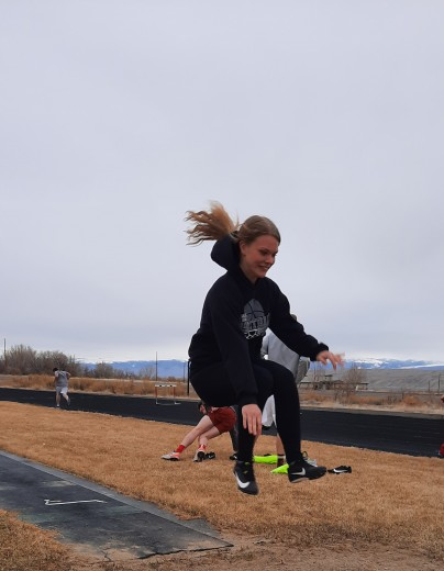 Courtesy photo courtesy photo Lady Rebel sophomore Hailee McClure works on her approach into the long jump pit during a practice in Basin.