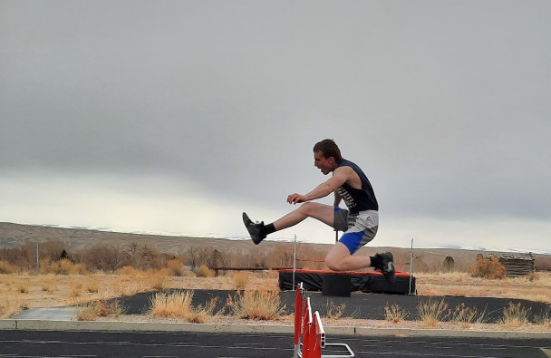 Courtesy photo Rebel freshman Ty Strohschein works on the hurdles during a practice in Basin. The Rebels open up the season Saturday in Greybull.