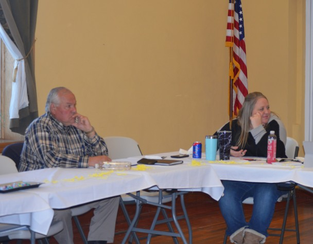 Barbara Anne Greene Burlinton Town Council member Gary Brunko and town clerk Mallory Owen attended the Big Horn County mayor's meeting in Basin on March 31.