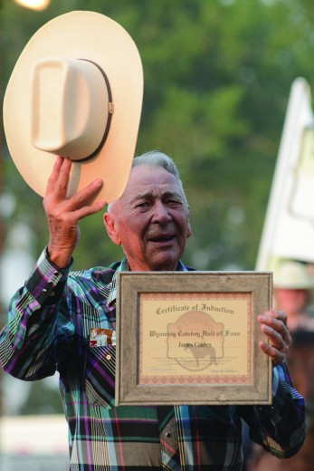 Nathan Oster photo: Jim Caines of Hyattville was honored at the rodeo on Saturday night. Caines was inducted into the Wyoming Cowboy Hall of Fame.