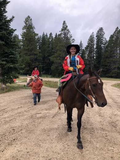 Courtesy photo Stetson and Madison taking the horses to the lodge after Tyler was rescued.