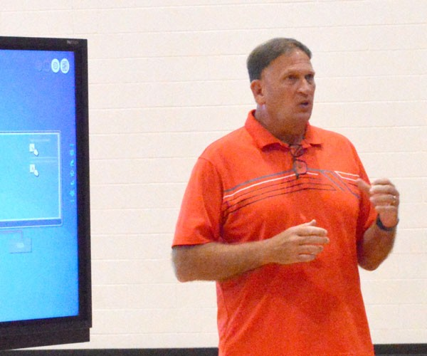 Rob Miller of Proactive Coaching, LLC speaks to RMHS students on what it takes to make a great team.Jessica Robinson photo