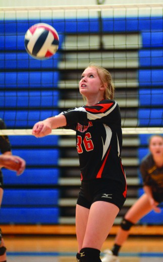 Nathan Oster Burlington junior Avery Nelson passes the ball to a teammate during a match with Greybull Friday at the North Big Horn Invitational Tournament in Lovell.