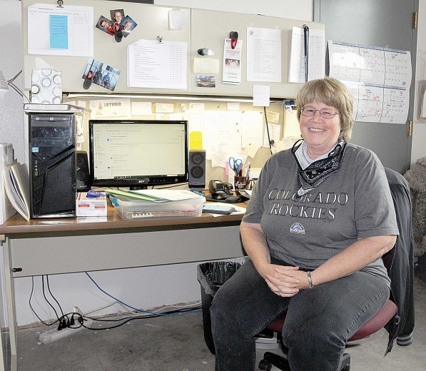 (David Peck photo) North Big Horn Senior Center Director Julie Durham works from a temporary office last Friday while awaiting carpet installation at the center.