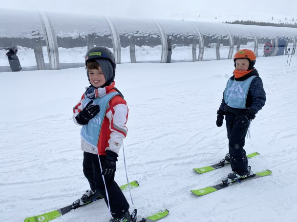 Courtesy Photo Tristan Crabtree (left) and Braxten Link (right) are all smiles as they enjoy the slopes at Antelope Butte.