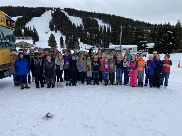 Courtesy photo Fourth, fifth and sixth graders at LIE and RMHS pose for a group photo at Antelope Butte.