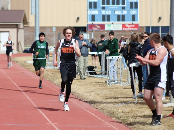 Tammy Keele Senior Daniel Stanworth of Burlington made up some time during his leg of the Boys Medley Relay at Saturday's track meet in Greybull.