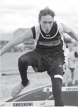 Sam Smith Burlington senior Daniel Stanworth clears the hurdle with ease during the 300-meter hurdles Friday in Shoshoni. Stanworth placed seventh in the event with a time of 48.64 seconds.