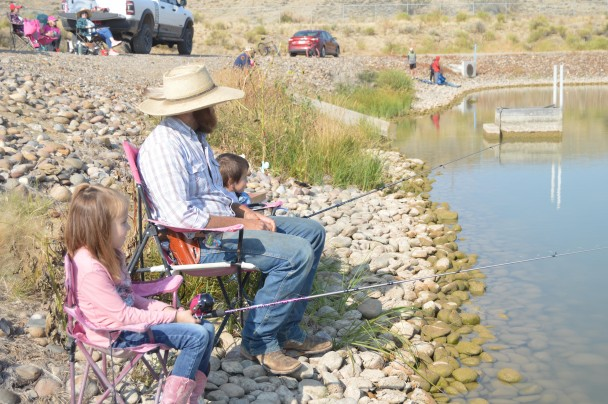 The Dewy family of Otto enjoyed a day of fishing during Basin's family fun day. l-r Brinley, Jesse and Ty.