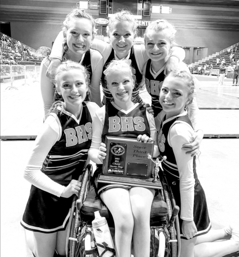 Burlington Cheer Team takes second in Hip-Hop Dance and third place in the Game Day Division at the State Spirit Competition in Casper January 28th.    courtesy photo