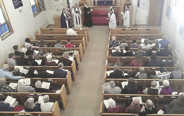 Many members gathered from all over the Big Horn Basin for Pastor Benson's installation March 14.     courtesy photo