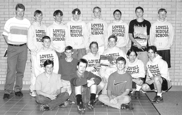 file photo    Members of the Lovell Middle School boys 1996 championship track team are (back row, l-r) Coach Mike McManamen, Tim Thomas, Bill Watts, Shane Fink, Thomas Croft, Rolando Davila, Michael Mickelson, Bob Weber, (middle) Sam Walker, Ben Zeller, Jade Lapp, Daniel Robertson, Alex Rodriguez, Sam Briseno, (front) Kade Caturia, Josh Tilley and Christian Asay. See more in excerpt from 25 years ago.