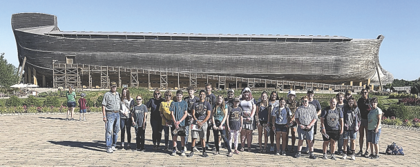 courtesy photo    Lovell Bible Church youth and leaders pose outside of the Ark Encounter in Kentucky.