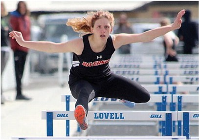 Sam Smith Lady Rebel senior Breana Riley clears the hurdle during the 100-meter hurdles at the Lovell Invitational Saturday.