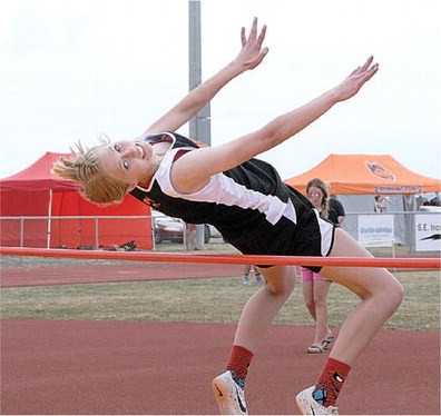 David Peck Burlington sophomore Victoria Nelson clears the bar with ease during the high jump event Saturday at the Rocky Mountain Invitational. Nelson placed seventh in the event, clearing 4-6.