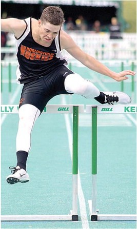 Sam Smith Burlington senior Kolby Broederlow clears the hurdle with ease Saturday at Kelly Walsh High School in Casper during the Wyoming State Track and Field Meet. Broederlow placed second in the event with a time of 42.78 seconds.